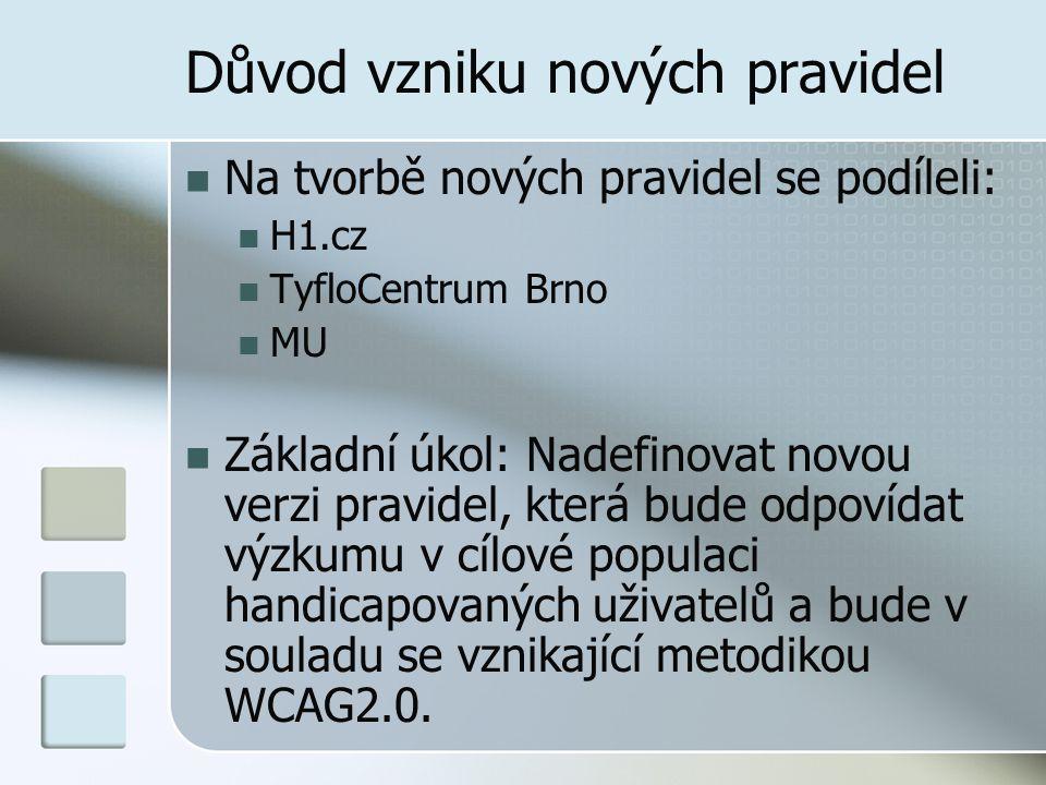 Důvod vzniku nových pravidel Na tvorbě nových pravidel se podíleli: H1.cz TyfloCentrum Brno MU Základní úkol: Nadefinovat novou verzi pravidel, která bude odpovídat výzkumu v cílové populaci handicapovaných uživatelů a bude v souladu se vznikající metodikou WCAG2.0.