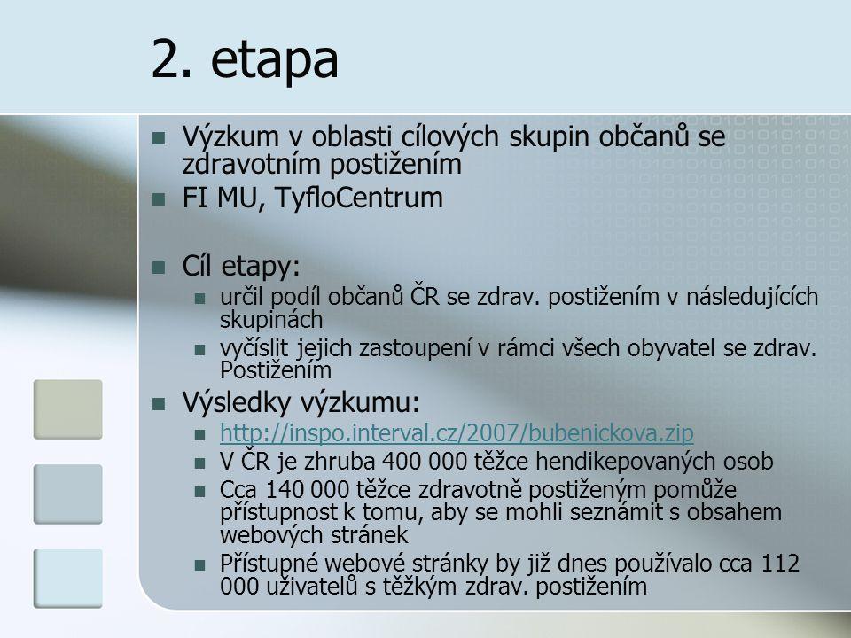 2. etapa Výzkum v oblasti cílových skupin občanů se zdravotním postižením FI MU, TyfloCentrum Cíl etapy: určil podíl občanů ČR se zdrav. postižením v