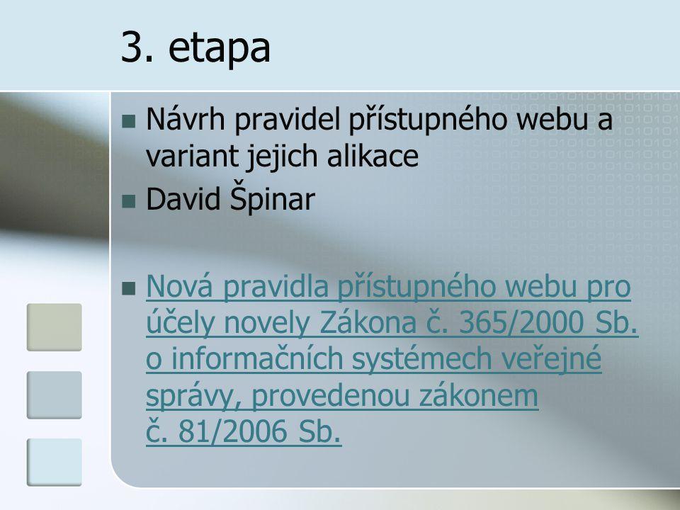 3. etapa Návrh pravidel přístupného webu a variant jejich alikace David Špinar Nová pravidla přístupného webu pro účely novely Zákona č. 365/2000 Sb.