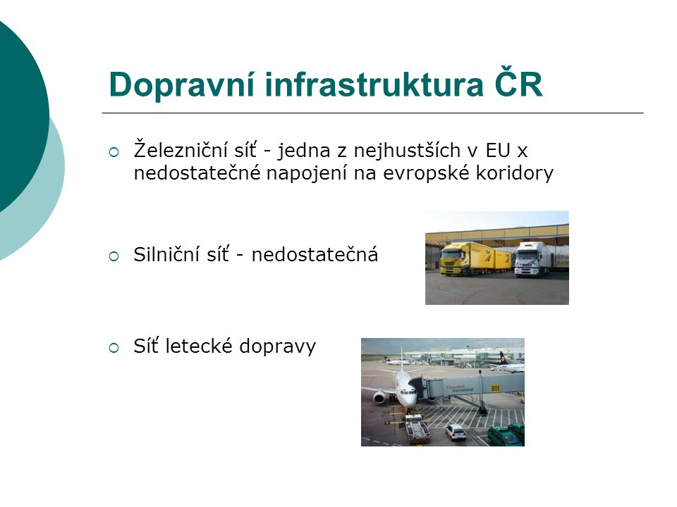 Dopravní infrastruktura ČR  Železniční síť - jedna z nejhustších v EU x nedostatečné napojení na evropské koridory  Silniční síť - nedostatečná  Síť letecké dopravy