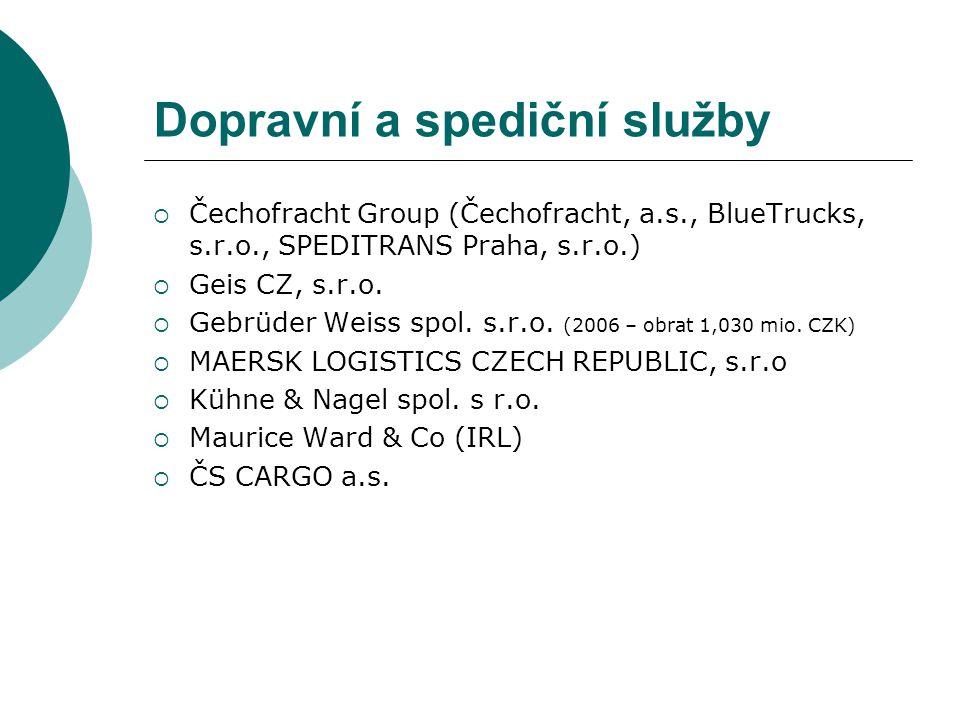 Dopravní a spediční služby  Čechofracht Group (Čechofracht, a.s., BlueTrucks, s.r.o., SPEDITRANS Praha, s.r.o.)  Geis CZ, s.r.o.  Gebrüder Weiss sp