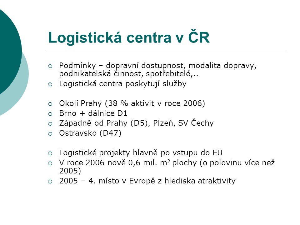 Logistická centra v ČR  Podmínky – dopravní dostupnost, modalita dopravy, podnikatelská činnost, spotřebitelé,..  Logistická centra poskytují služby