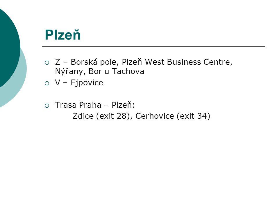 Plzeň  Z – Borská pole, Plzeň West Business Centre, Nýřany, Bor u Tachova  V – Ejpovice  Trasa Praha – Plzeň: Zdice (exit 28), Cerhovice (exit 34)