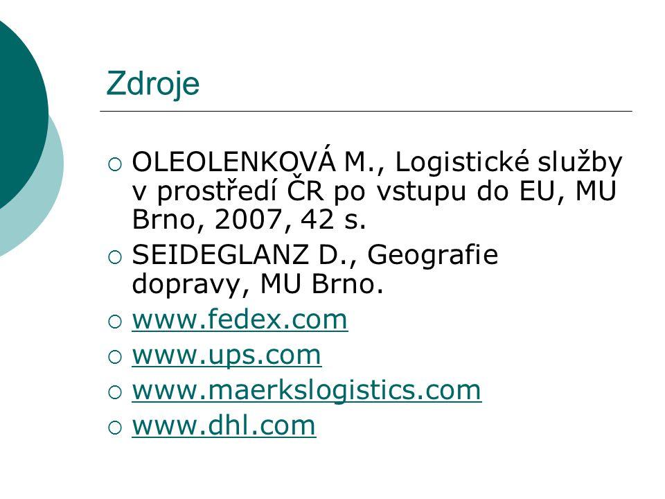 Zdroje  OLEOLENKOVÁ M., Logistické služby v prostředí ČR po vstupu do EU, MU Brno, 2007, 42 s.  SEIDEGLANZ D., Geografie dopravy, MU Brno.  www.fed