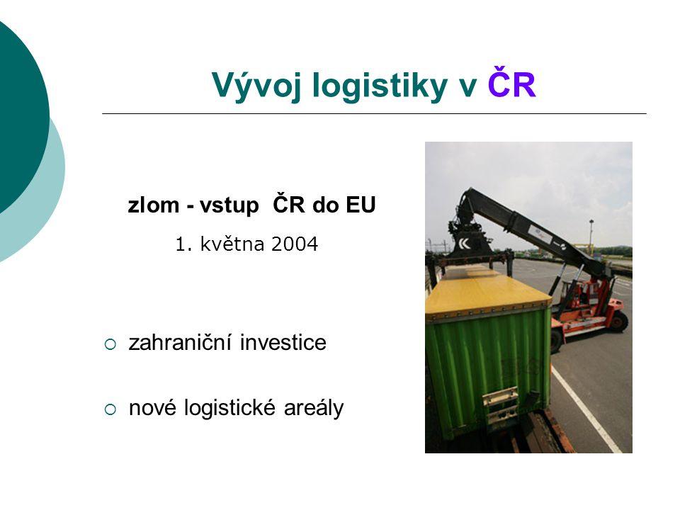 Vývoj logistiky v ČR zlom - vstup ČR do EU 1. května 2004  zahraniční investice  nové logistické areály