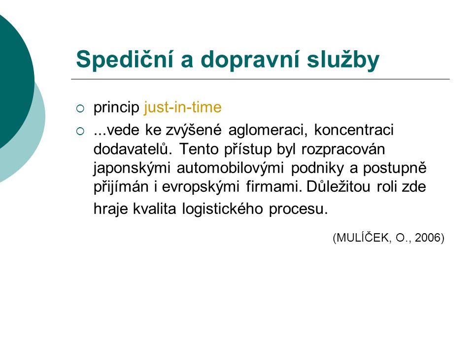 Spediční a dopravní služby  princip just-in-time ...vede ke zvýšené aglomeraci, koncentraci dodavatelů. Tento přístup byl rozpracován japonskými aut