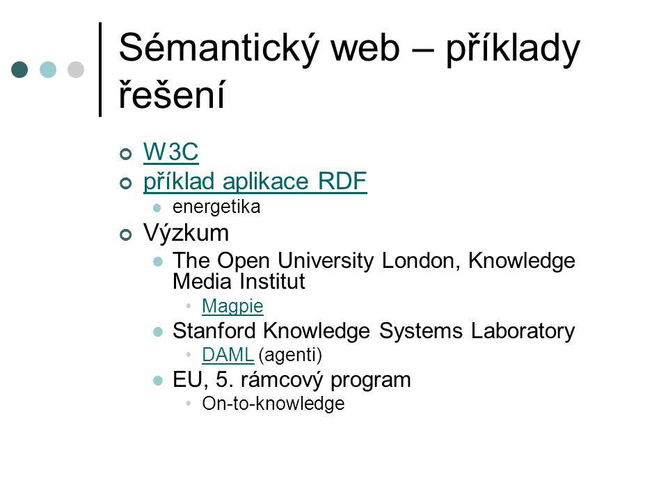 Sémantický web – příklady řešení W3C příklad aplikace RDF energetika Výzkum The Open University London, Knowledge Media Institut Magpie Stanford Knowledge Systems Laboratory DAML (agenti)DAML EU, 5.