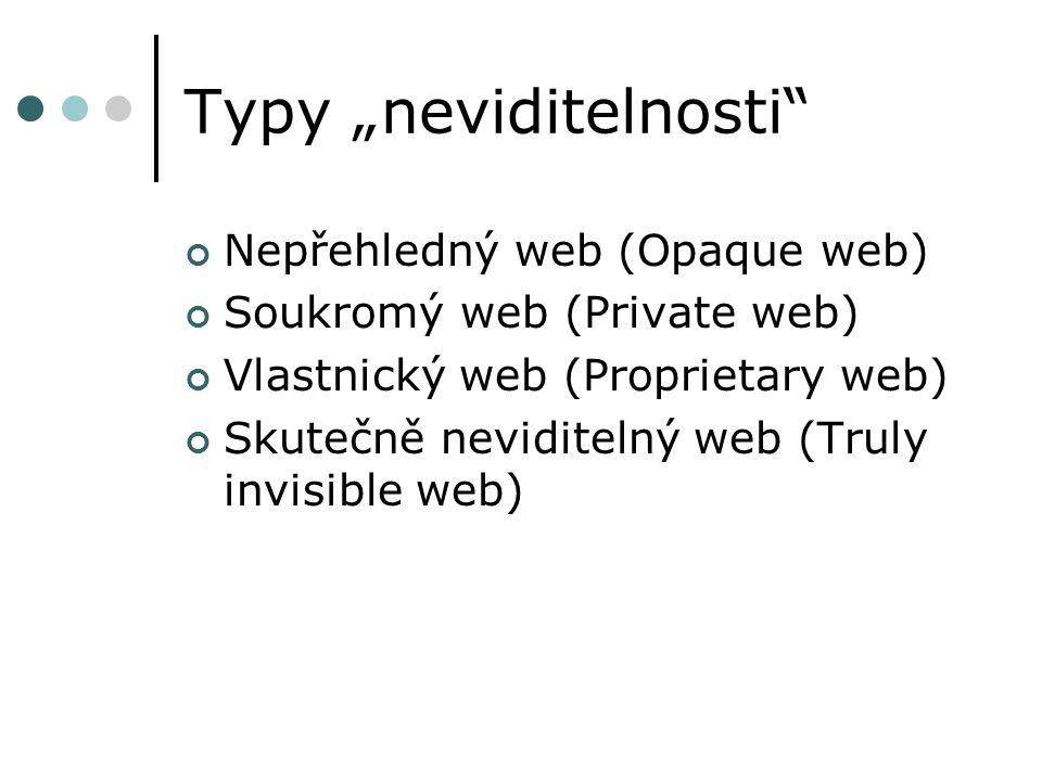 """Typy """"neviditelnosti Nepřehledný web (Opaque web) Soukromý web (Private web) Vlastnický web (Proprietary web) Skutečně neviditelný web (Truly invisible web)"""