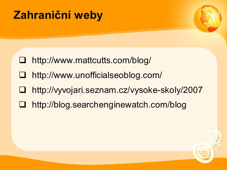 Zahraniční weby  http://www.mattcutts.com/blog/  http://www.unofficialseoblog.com/  http://vyvojari.seznam.cz/vysoke-skoly/2007  http://blog.searchenginewatch.com/blog