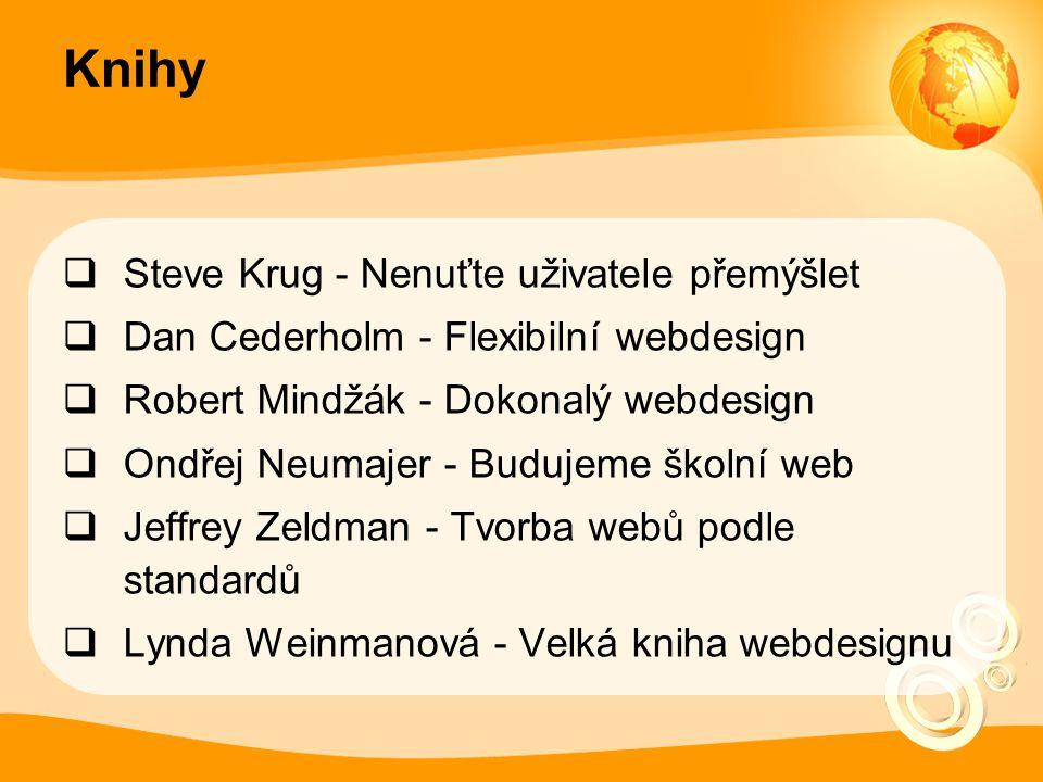 Knihy  Steve Krug - Nenuťte uživatele přemýšlet  Dan Cederholm - Flexibilní webdesign  Robert Mindžák - Dokonalý webdesign  Ondřej Neumajer - Budujeme školní web  Jeffrey Zeldman - Tvorba webů podle standardů  Lynda Weinmanová - Velká kniha webdesignu