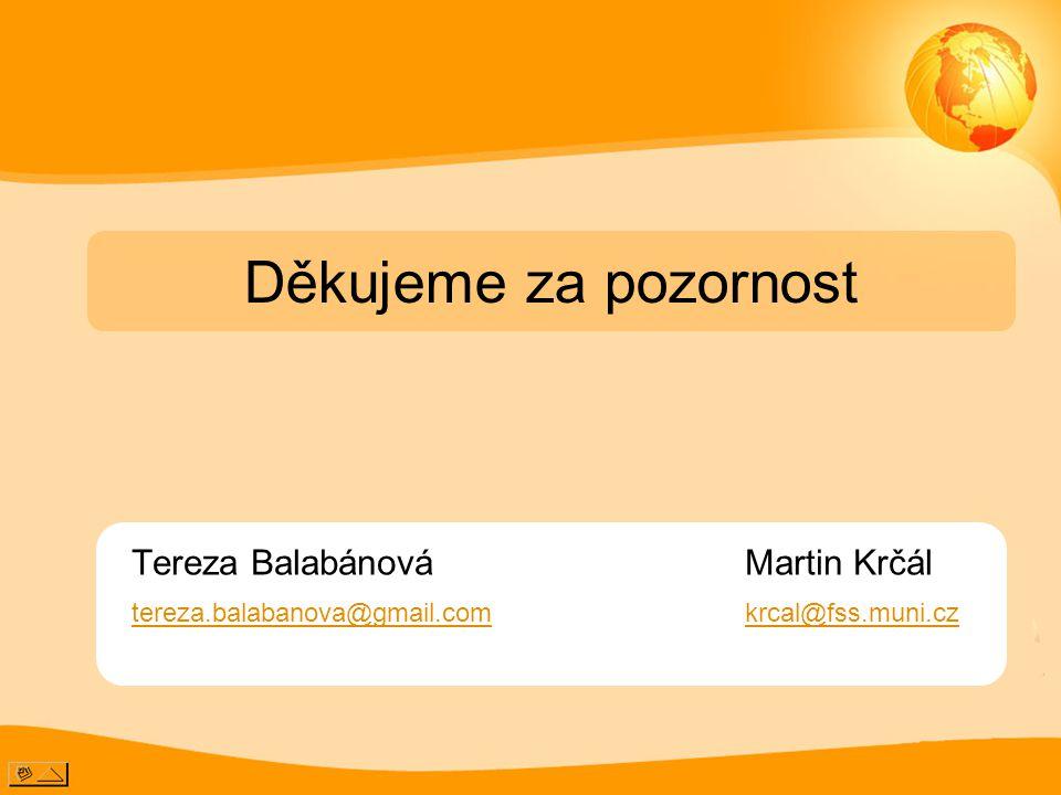 Tereza Balabánová Martin Krčál tereza.balabanova@gmail.comkrcal@fss.muni.cz Děkujeme za pozornost