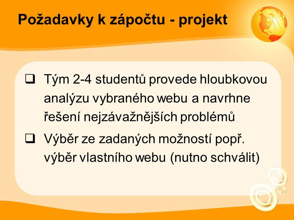 Požadavky k zápočtu - projekt  Tým 2-4 studentů provede hloubkovou analýzu vybraného webu a navrhne řešení nejzávažnějších problémů  Výběr ze zadaných možností popř.