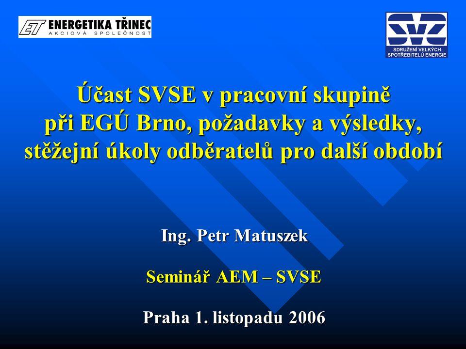 Účast SVSE v pracovní skupině při EGÚ Brno, požadavky a výsledky, stěžejní úkoly odběratelů pro další období Ing. Petr Matuszek Seminář AEM – SVSE Pra