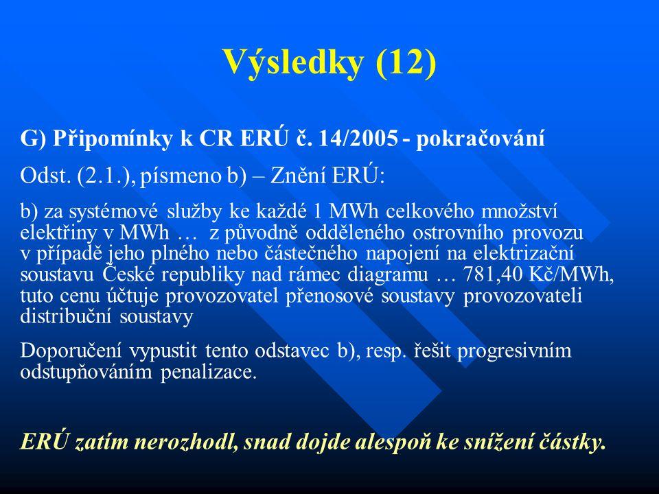 Výsledky (12) G) Připomínky k CR ERÚ č. 14/2005 - pokračování Odst. (2.1.), písmeno b) – Znění ERÚ: b) za systémové služby ke každé 1 MWh celkového mn