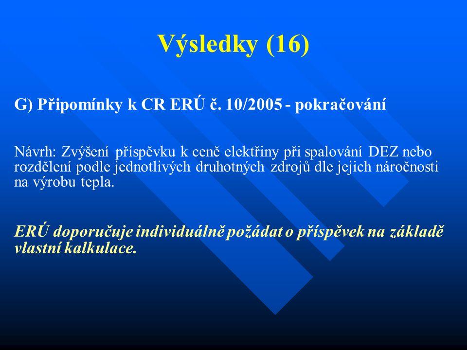 Výsledky (16) G) Připomínky k CR ERÚ č. 10/2005 - pokračování Návrh: Zvýšení příspěvku k ceně elektřiny při spalování DEZ nebo rozdělení podle jednotl