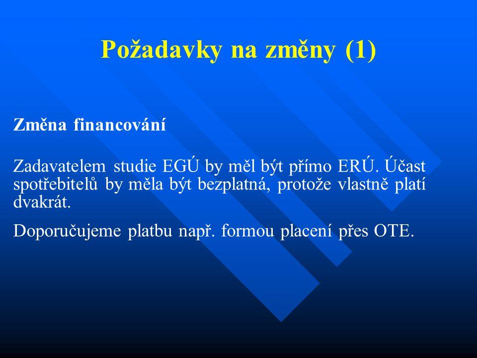 Požadavky na změny (1) Změna financování Zadavatelem studie EGÚ by měl být přímo ERÚ. Účast spotřebitelů by měla být bezplatná, protože vlastně platí