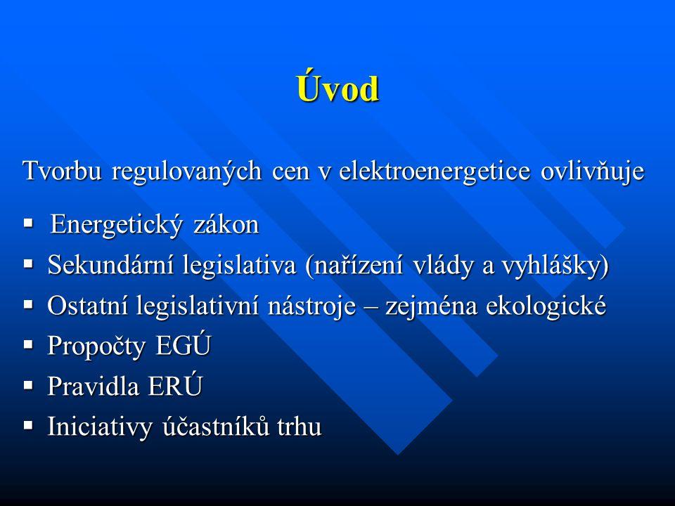 Tvorbu regulovaných cen v elektroenergetice ovlivňuje  Energetický zákon  Sekundární legislativa (nařízení vlády a vyhlášky)  Ostatní legislativní