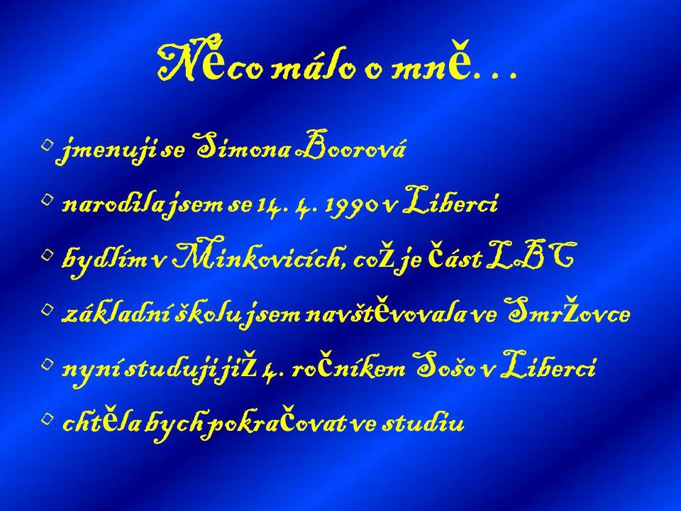 N ě co málo o mn ě … jmenuji se Simona Boorová narodila jsem se 14. 4. 1990 v Liberci bydlím v Minkovicích, co ž je č ást LBC základní školu jsem navš