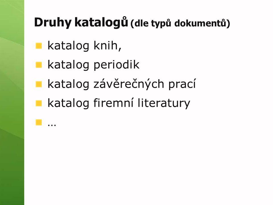 Druhy katalogů (dle typů dokumentů) katalog knih, katalog periodik katalog závěrečných prací katalog firemní literatury …