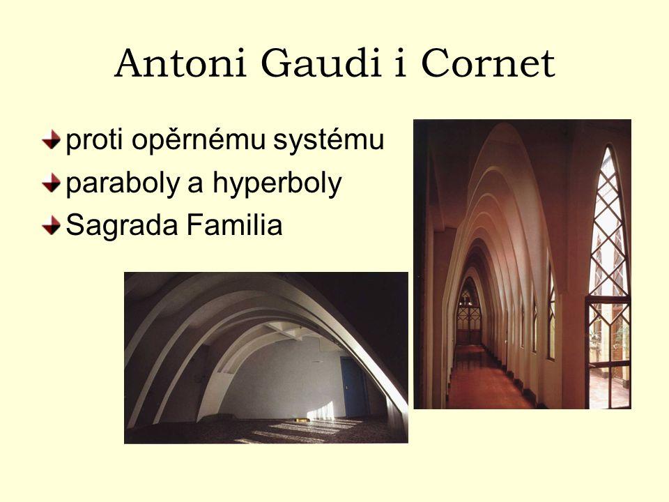 Antoni Gaudi i Cornet proti opěrnému systému paraboly a hyperboly Sagrada Familia