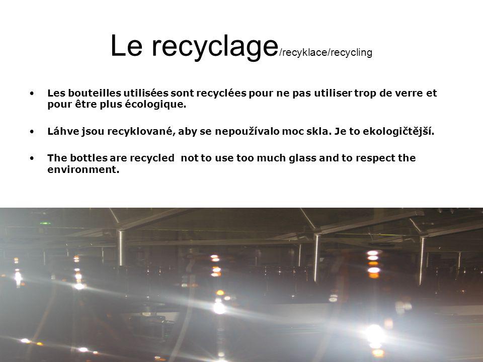 Le recyclage /recyklace/recycling Les bouteilles utilisées sont recyclées pour ne pas utiliser trop de verre et pour être plus écologique.