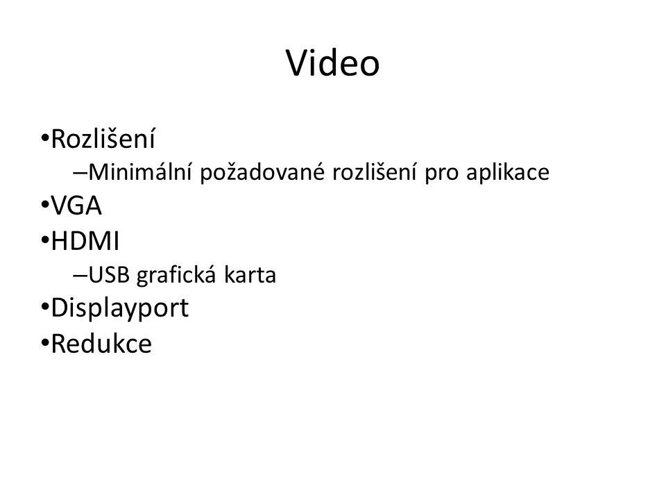 Video Rozlišení – Minimální požadované rozlišení pro aplikace VGA HDMI – USB grafická karta Displayport Redukce