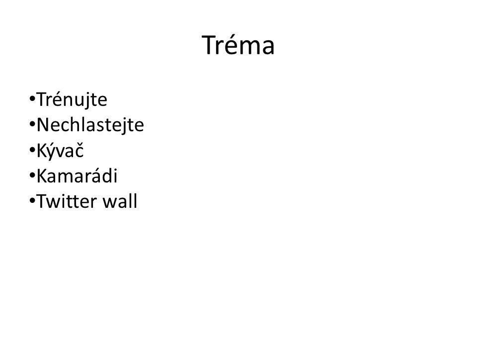 Tréma Trénujte Nechlastejte Kývač Kamarádi Twitter wall
