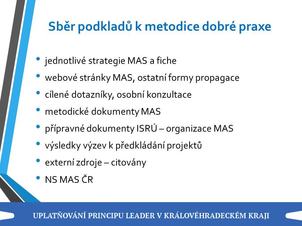 Sběr podkladů k metodice dobré praxe jednotlivé strategie MAS a fiche webové stránky MAS, ostatní formy propagace cílené dotazníky, osobní konzultace
