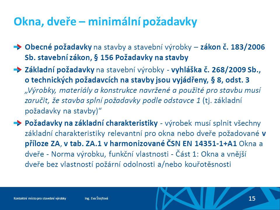 Ing. Eva ŠtejfováKontaktní místo pro stavební výrobky 15 Okna, dveře – minimální požadavky Obecné požadavky na stavby a stavební výrobky – zákon č. 18
