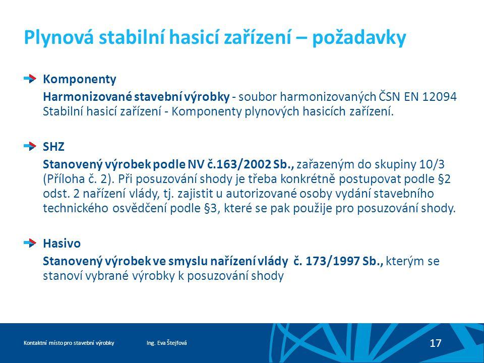 Ing. Eva ŠtejfováKontaktní místo pro stavební výrobky 17 Plynová stabilní hasicí zařízení – požadavky Komponenty Harmonizované stavební výrobky - soub