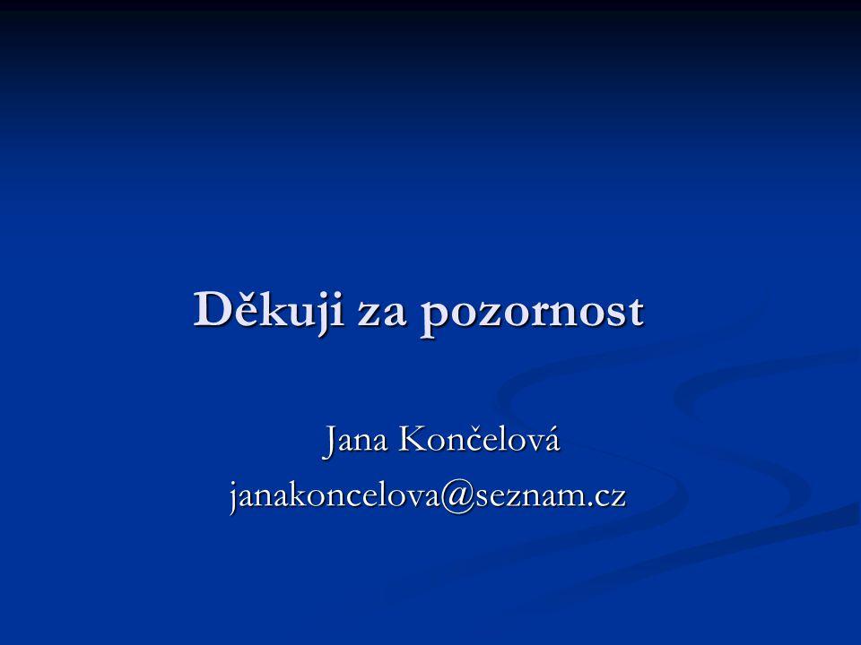 Děkuji za pozornost Jana Končelová Jana Končelovájanakoncelova@seznam.cz