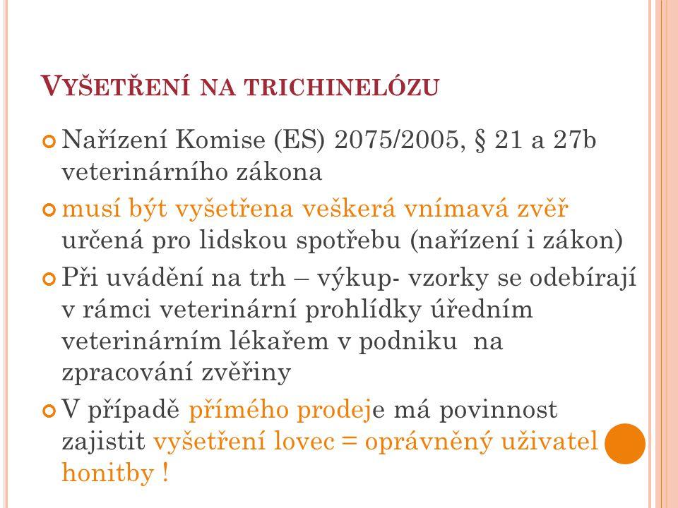 V YŠETŘENÍ NA TRICHINELÓZU Nařízení Komise (ES) 2075/2005, § 21 a 27b veterinárního zákona musí být vyšetřena veškerá vnímavá zvěř určená pro lidskou