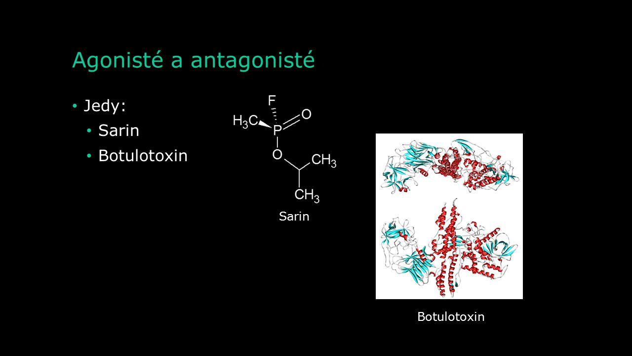 Agonisté a antagonisté Agonista nikotinových receptorů: Nikotin Antagonista nikotinových receptorů: Tubokurarin Agonista muskarinových receptorů: Musk