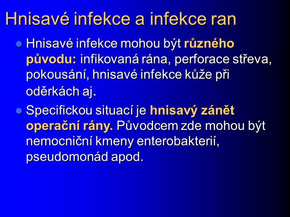 Původci hnisavých infekcí V oblasti kolem dutin osídlených anaerobní flórou (břišní dutina, malá pánev, tvář, měkké tkáně krku) se často uplatňuje smíšená aerobně anaerobní flóra V oblasti kolem dutin osídlených anaerobní flórou (břišní dutina, malá pánev, tvář, měkké tkáně krku) se často uplatňuje smíšená aerobně anaerobní flóra U hnisavých afekcí na kůži a kožních adnexách jsou nejčastější zlaté stafylokoky, možné streptokoky aj.