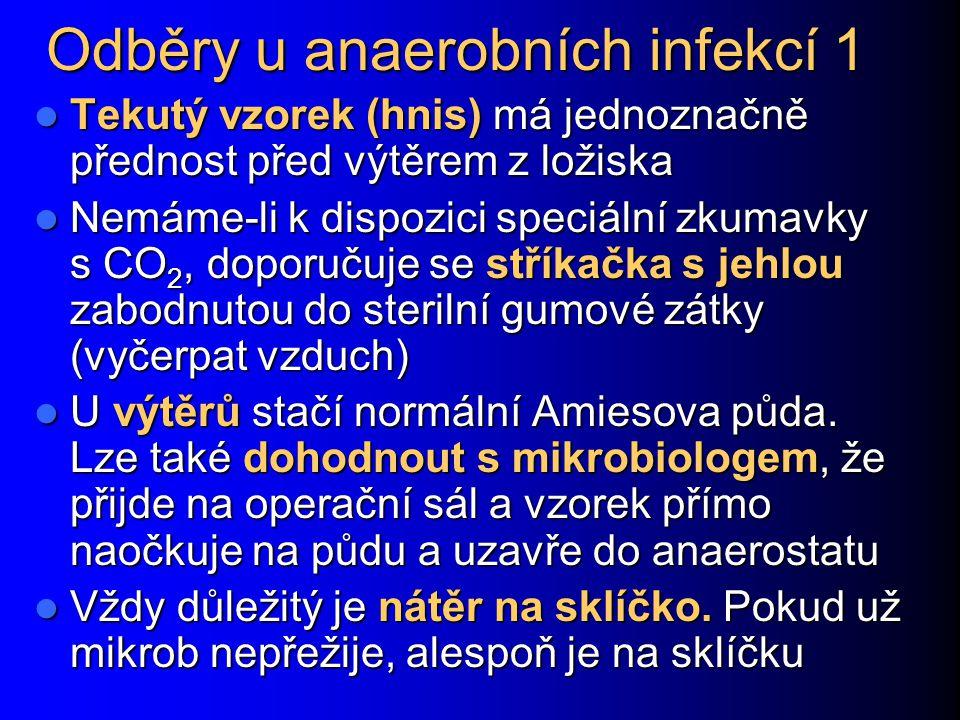 Odběry u anaerobních infekcí 1 Tekutý vzorek (hnis) má jednoznačně přednost před výtěrem z ložiska Tekutý vzorek (hnis) má jednoznačně přednost před v