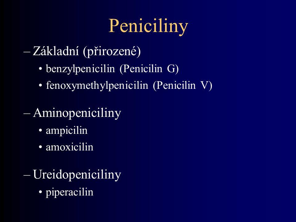 Peniciliny –Základní (přirozené) benzylpenicilin (Penicilin G) fenoxymethylpenicilin (Penicilin V) –Aminopeniciliny ampicilin amoxicilin –Ureidopeniciliny piperacilin