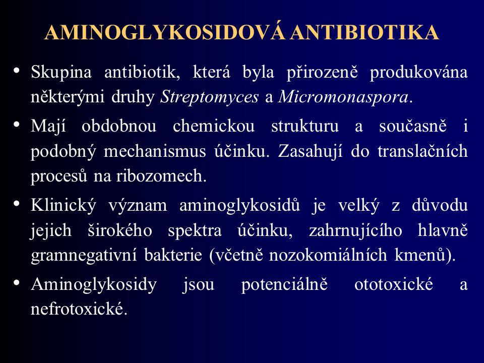 AMINOGLYKOSIDOVÁ ANTIBIOTIKA Skupina antibiotik, která byla přirozeně produkována některými druhy Streptomyces a Micromonaspora.