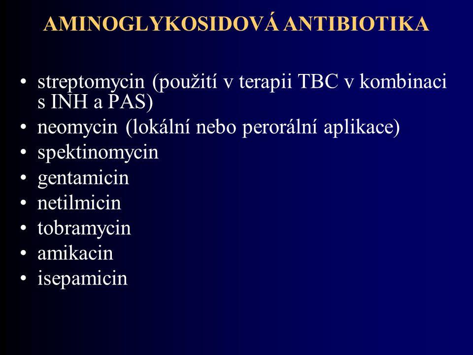 AMINOGLYKOSIDOVÁ ANTIBIOTIKA streptomycin (použití v terapii TBC v kombinaci s INH a PAS) neomycin (lokální nebo perorální aplikace) spektinomycin gentamicin netilmicin tobramycin amikacin isepamicin