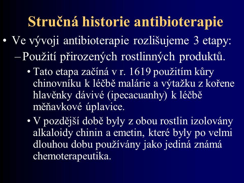 Stručná historie antibioterapie Ve vývoji antibioterapie rozlišujeme 3 etapy: –Použití přirozených rostlinných produktů. Tato etapa začíná v r. 1619 p
