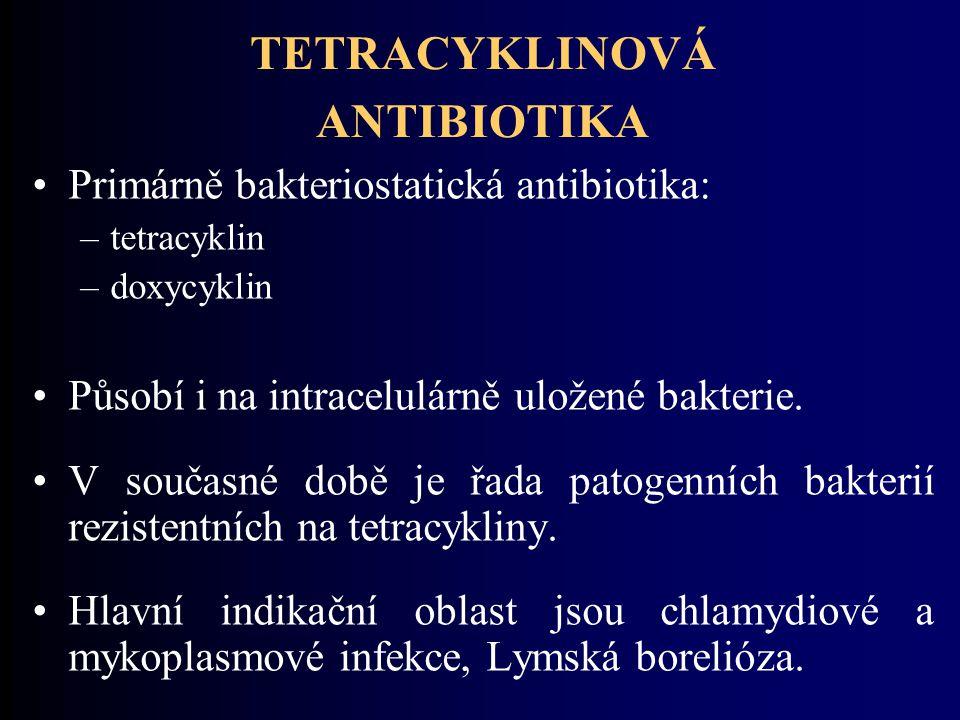 TETRACYKLINOVÁ ANTIBIOTIKA Primárně bakteriostatická antibiotika: –tetracyklin –doxycyklin Působí i na intracelulárně uložené bakterie. V současné dob