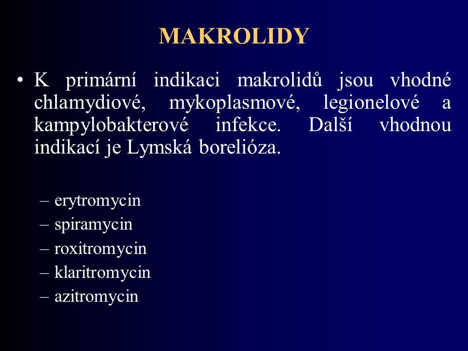 MAKROLIDY K primární indikaci makrolidů jsou vhodné chlamydiové, mykoplasmové, legionelové a kampylobakterové infekce.