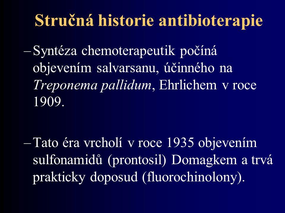 Stručná historie antibioterapie –Syntéza chemoterapeutik počíná objevením salvarsanu, účinného na Treponema pallidum, Ehrlichem v roce 1909. –Tato éra
