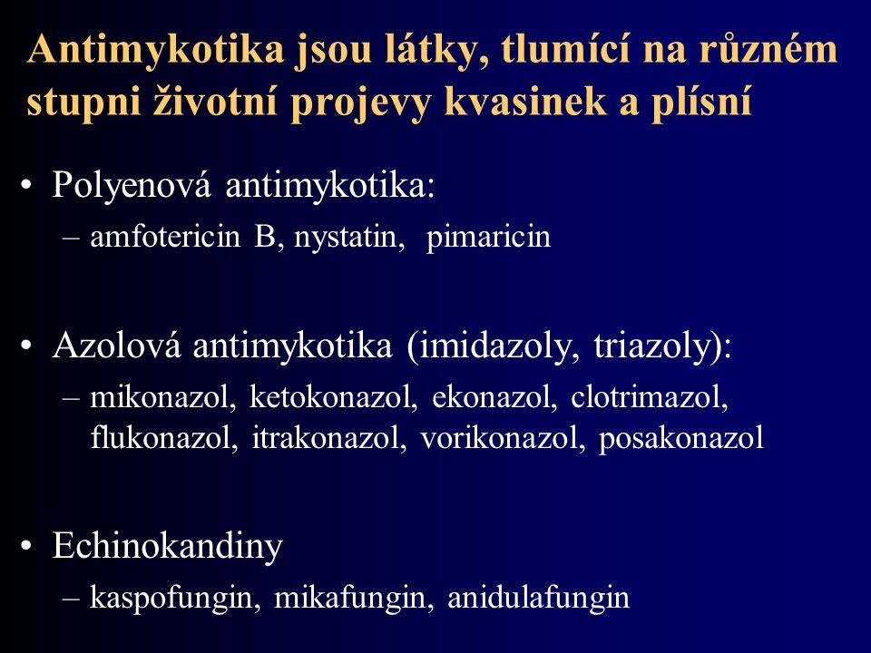 Antimykotika jsou látky, tlumící na různém stupni životní projevy kvasinek a plísní Polyenová antimykotika: –amfotericin B, nystatin, pimaricin Azolová antimykotika (imidazoly, triazoly): –mikonazol, ketokonazol, ekonazol, clotrimazol, flukonazol, itrakonazol, vorikonazol, posakonazol Echinokandiny –kaspofungin, mikafungin, anidulafungin