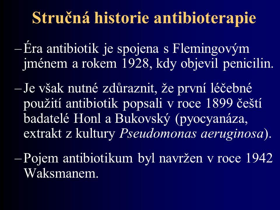Stručná historie antibioterapie –Éra antibiotik je spojena s Flemingovým jménem a rokem 1928, kdy objevil penicilin.