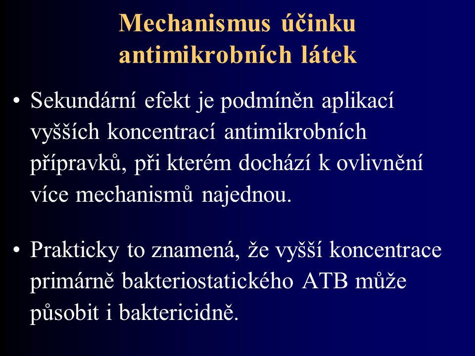 Mechanismus účinku antimikrobních látek Sekundární efekt je podmíněn aplikací vyšších koncentrací antimikrobních přípravků, při kterém dochází k ovlivnění více mechanismů najednou.