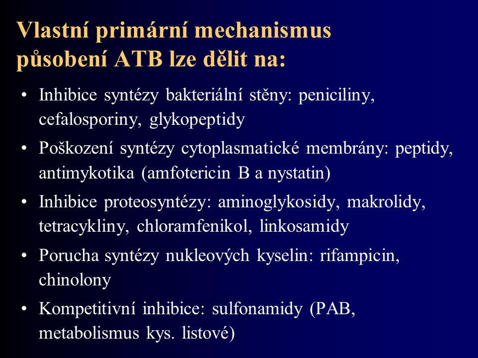 Vlastní primární mechanismus působení ATB lze dělit na: Inhibice syntézy bakteriální stěny: peniciliny, cefalosporiny, glykopeptidy Poškození syntézy cytoplasmatické membrány: peptidy, antimykotika (amfotericin B a nystatin) Inhibice proteosyntézy: aminoglykosidy, makrolidy, tetracykliny, chloramfenikol, linkosamidy Porucha syntézy nukleových kyselin: rifampicin, chinolony Kompetitivní inhibice: sulfonamidy (PAB, metabolismus kys.