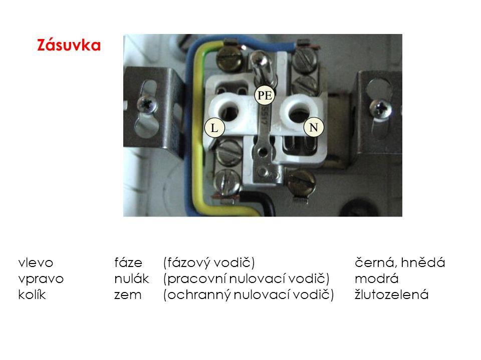 Zásuvka vlevofáze(fázový vodič)černá, hnědá vpravonulák(pracovní nulovací vodič)modrá kolíkzem(ochranný nulovací vodič)žlutozelená