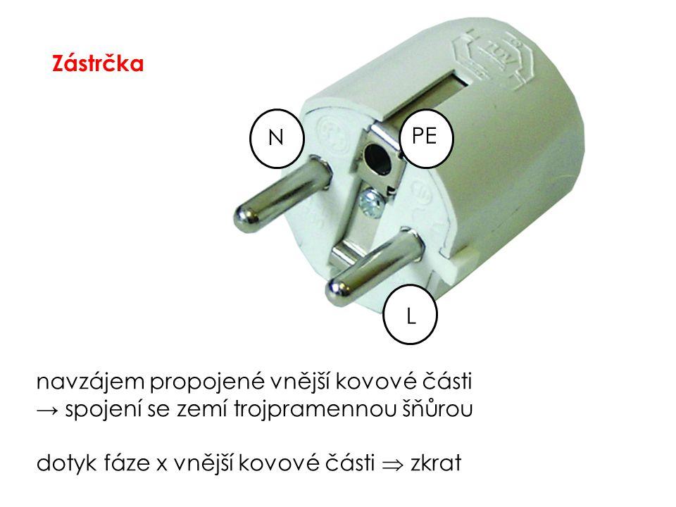 Zástrčka L PE N navzájem propojené vnější kovové části → spojení se zemí trojpramennou šňůrou dotyk fáze x vnější kovové části  zkrat