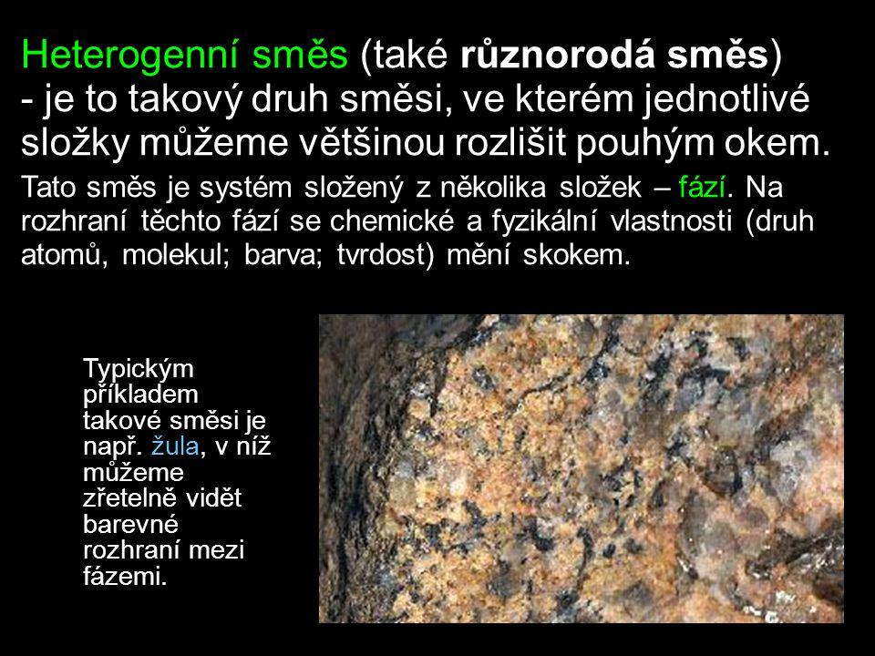 Rozlišujeme čtyři hlavní druhy heterogenních směsí: (jejich složky jsou omezeně mísitelné, nebo nemísitelné) suspenze (pevná látka + kapalina) emulze (kapalina + kapalina) pěna (kapalina/pevná látka + plyn v určitém poměru: bubliny plynu oddělené kapalinou či pevnou látkou) aerosoly - mlha (plyn + kapalina v určitém poměru: kapénky kapaliny oddělené plynem) - dým (plyn + pevná látka: tělíska pevné látky oddělená plynem)