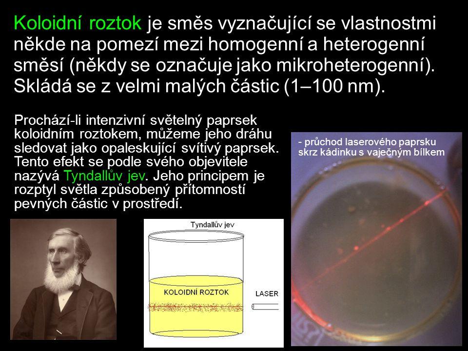 Směsi Homogenní nelze rozeznat okem, ani mikroskopem Koloidní vyznačuje se Tyndallovým jevem Heterogenní SuspenzeEmulzePěnaAerosol Menší shrnutí na závěr… … a několik otázek.